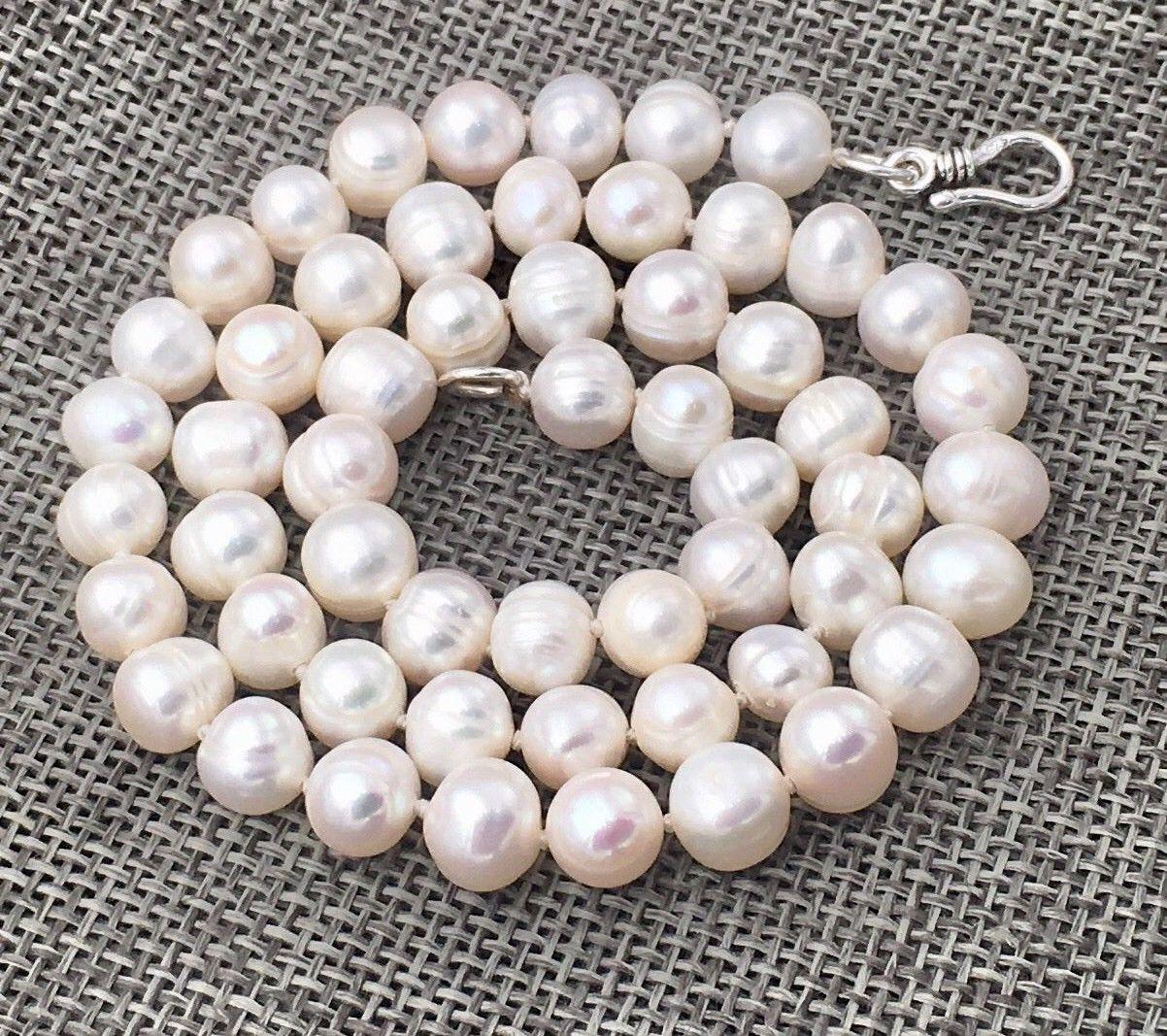 New Natural white 7-8mm akoya freshwater pearl necklace 18 925 silver Clasp