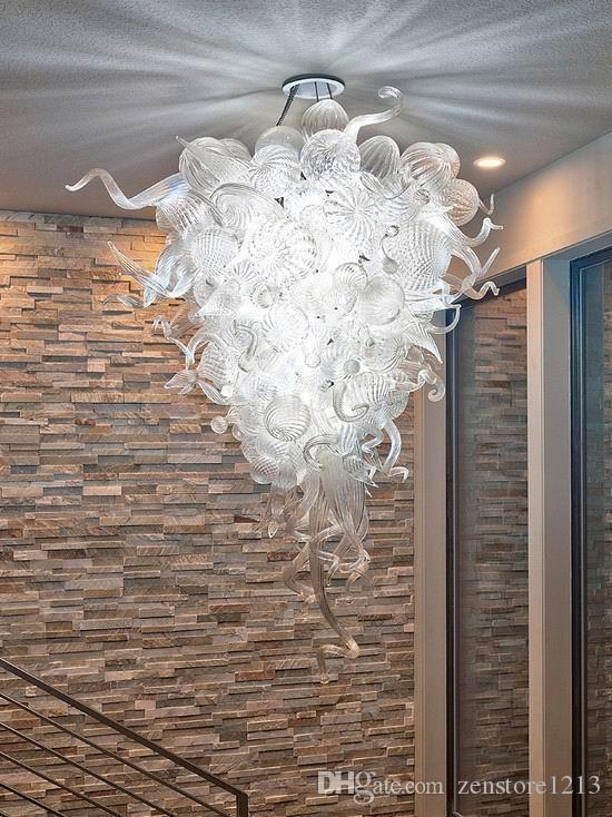 Чихули Стиль 100% Сгорел муранского стекла Люстра Light Италия Дизайнер Прозрачное стекло Светодиодные лампы Modern Art Decor Люстра для дома Гостиной
