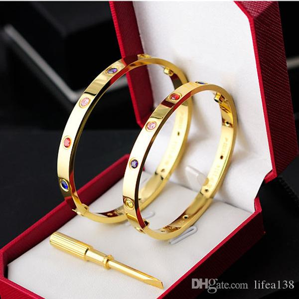 Newest Style Titanium Steel Screw Bracelets With 10 Stones Lover Bangles Bracelet Couple Jewelry With Box Set In Size 16