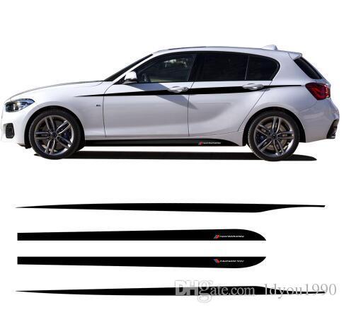 Jeu pour autocollants de jupe latérale M Performance Décalques de rayures à la taille pour BMW Série 1 F20 F21 118i 120i 125i 128i 135i M Sport