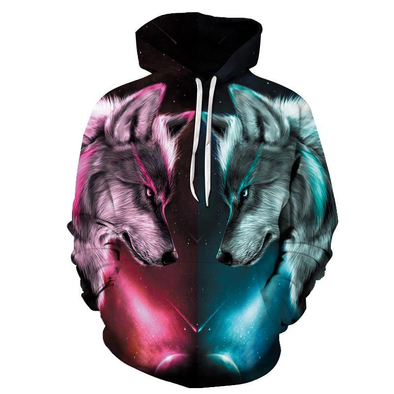 En çok satan kurt baskı kapşonlu erkekler 3D kapşonlu marka erkek ve kadın ceket kaliteli kazak moda hayvan sportswea baskılı