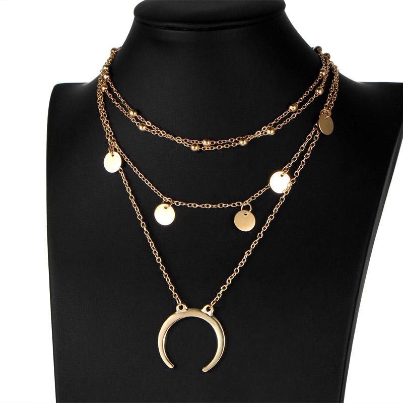 Mais recente moda jóias acessórios mix cor Multilayer colar lua pingente de borla Colar para casal amantes