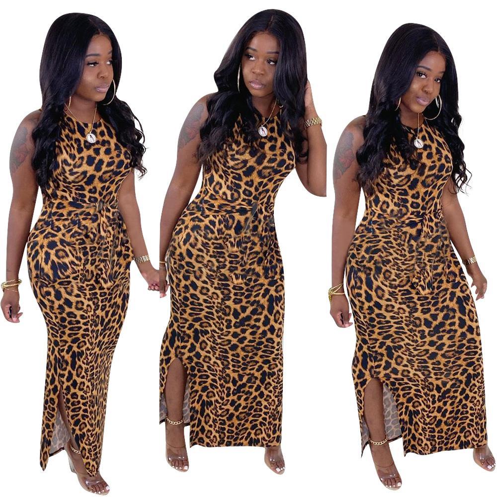 Vestido Moda Mulheres Summer Long vestido maxi O-Neck Leopard Imprimir Bandage Praia Noite Club Party Dresses Vestido
