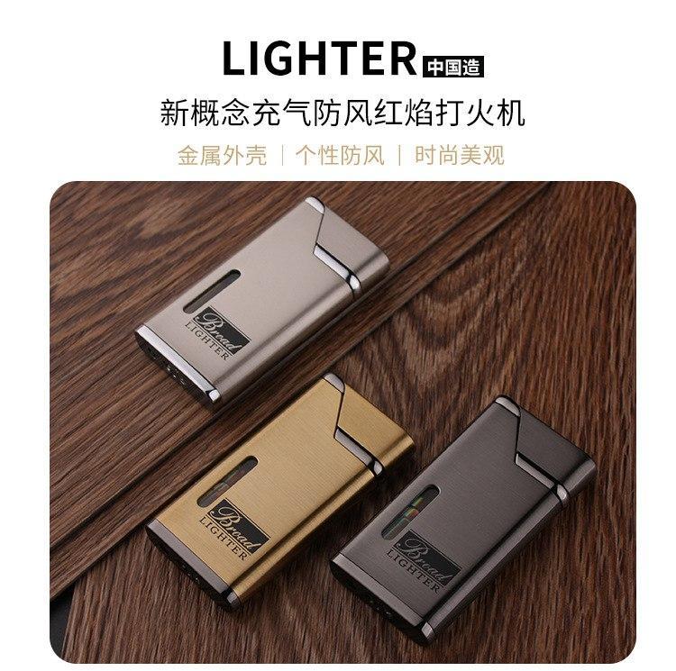 Chegada nova alta temperatura Cigarette Torch Red Flame Windproof inflável criativa Lighter metal Corpo Ultra-fino Tocha butano Personalidade
