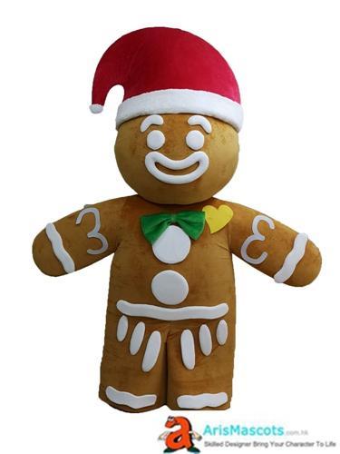 Adulte Gingerbread Man costume de mascotte pour Noël vacances Cartoon Costumes de caractères pour le Parti Deguisement Mascotte Aris Mascots sur mesure