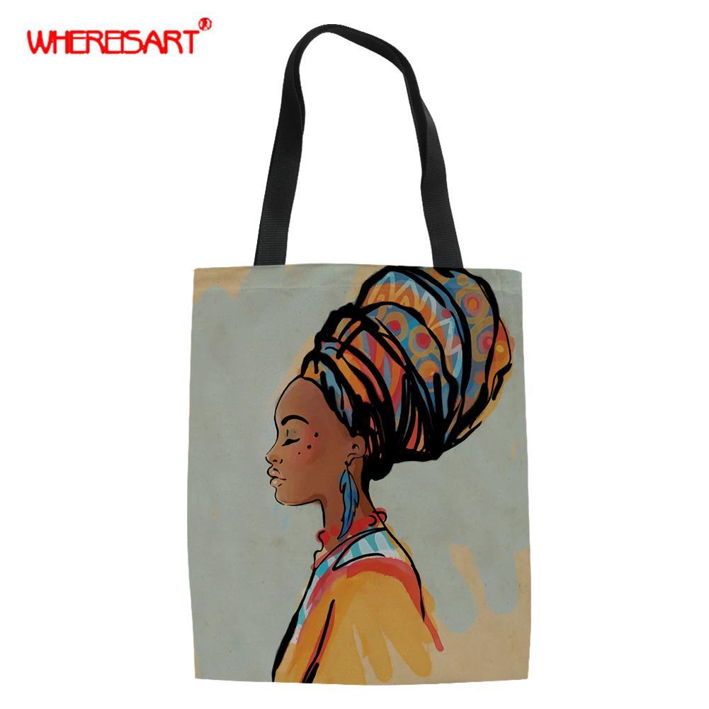 WHEREISART African American Art Prints Women Shopping Bag Shopper Tote Shoulder Bag Beach Satchel Handbag Bags Travel Canvas