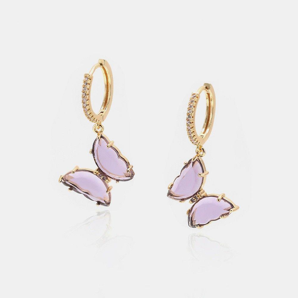 Luxury jewelry women pink purple glass butterfly designer earrings copper with gold plated diamond earrings for girl fashion style hoop stud