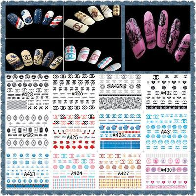 Wholesale 12sheet/set LOGO Large Colorful Water Sticker Designs Nail Art Stickers Decals Makeup Water Tattoos A421-432