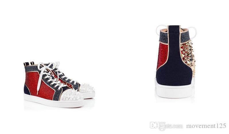 Pailletés Cristal Casual Sport Pik Pik Spikes Designer Shoes Mens Fashion Rouge fonds pour hommes lacées en cuir haut Baskets montantes homme