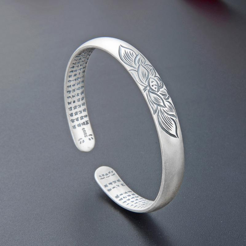 Korean-Style Temperament Simple Matte Bracelet Silver Jewelry S999 Foot yin hua teng Carved Open Bangle Womens Jewelry Wholesale