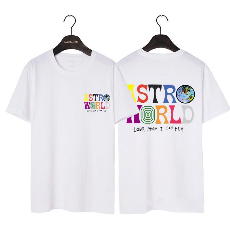21SS 디자이너 TS Astroworld 티셔츠 편지 인쇄 티 여름 남성과 여자 코튼 티셔츠 힙합 높은 거리 탑스