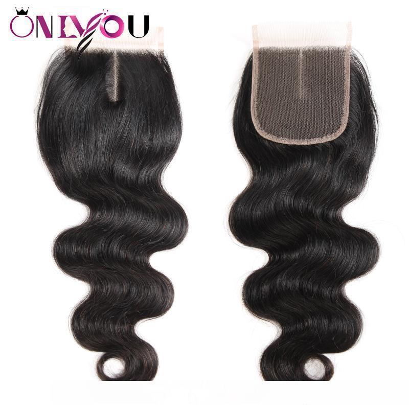 C 브라질 버진 인간의 머리카락 4 × 4 레이스 폐쇄 페루 말레이시아 인도 몽골어 바디 웨이브 스트레이트 깊은 변태 직선 정면 귀 T
