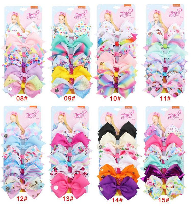 126 색 5 인치 머리 나비 소녀 다채로운 인쇄 Barrettes 귀여운 아기 액세서리 유니콘 조조 Siwa Bows 6pcs / 카드 포장