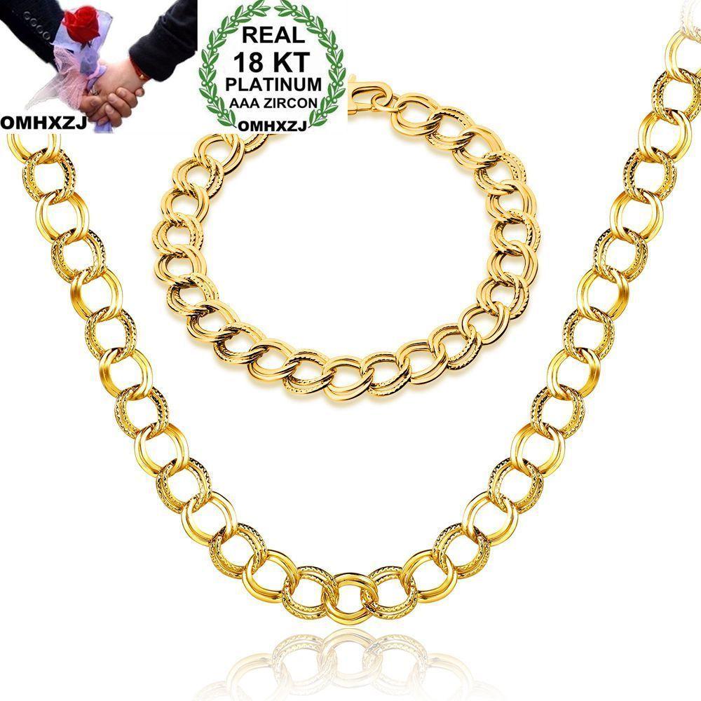 OMHXZJ بالجملة شخصية أزياء الرجل حزب هدية الذهب جولة الدوائر سلسلة 18KT سوار الذهب + قلادة مجموعة مجوهرات SE35