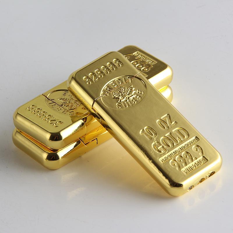 Cigarette Accessoires de mode New Gold Bar Forme Butane gaz Briquets Meule en métal léger