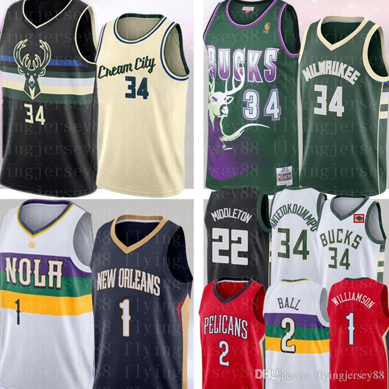 NCAA Цион 1 Williamson Яннис 34 Antetokounmpo Джерси Lonzo 2 шарика Khris 22 Middleton ретро сетки Ray 34 Allen баскетбольное