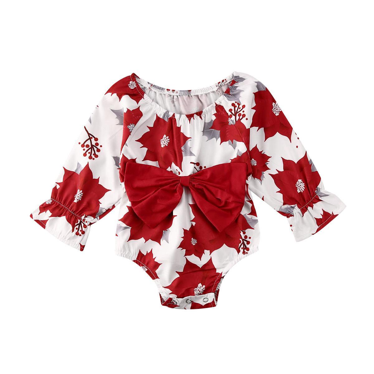 Weihnachten-Kind-Kind-Baby-Bodys Bowknot Kleidung Rüschen Langarm-Blumendruck-Overall-Outfit