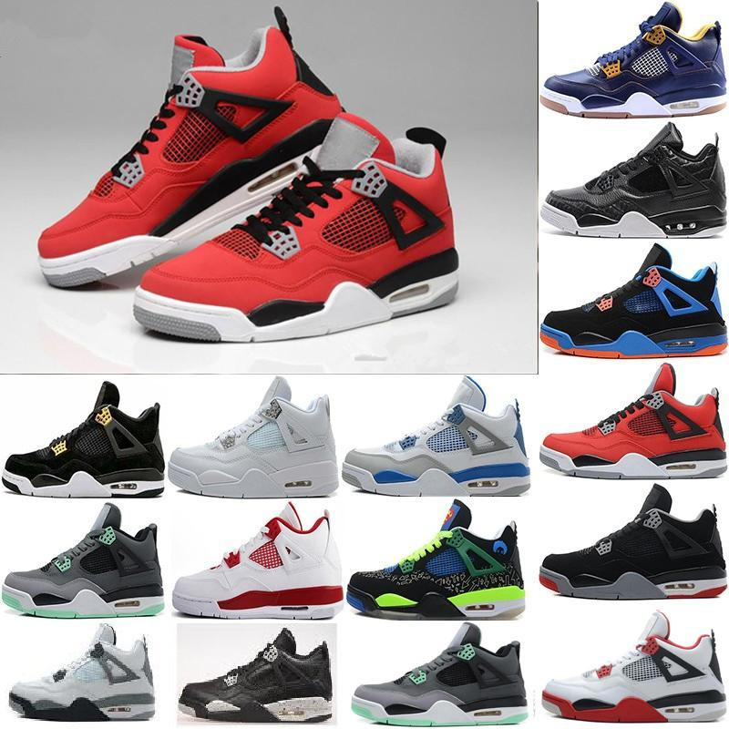 2018 4 4s Basketball Shoes men 4s Pure Money Royalty White Cement Premium Black Bred Fire Red mens Sports Sneakers size 8-US13
