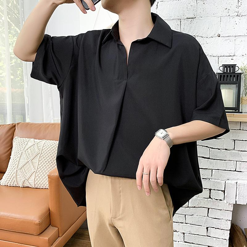 2019 Sommer-Männer neue Muster Kurzarm cooles Hemd Französisch-Stulpe-Marken-Kleidung Art und Weise lose Normallack-Shirts Big Size M-5XL T200619