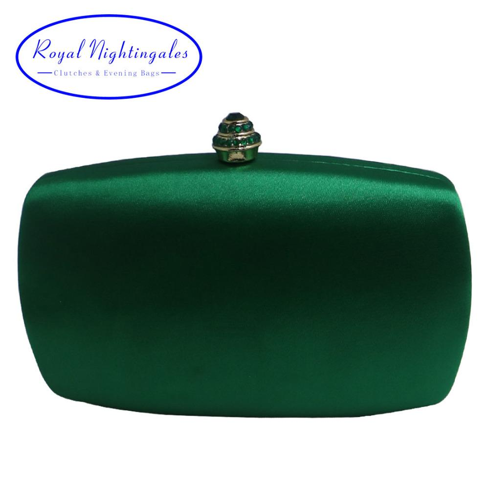 Elegant Hard Box Clutch Silk Satin Dark Green Evening Bags for Matching Shoes and Womens Wedding Prom Evening Party