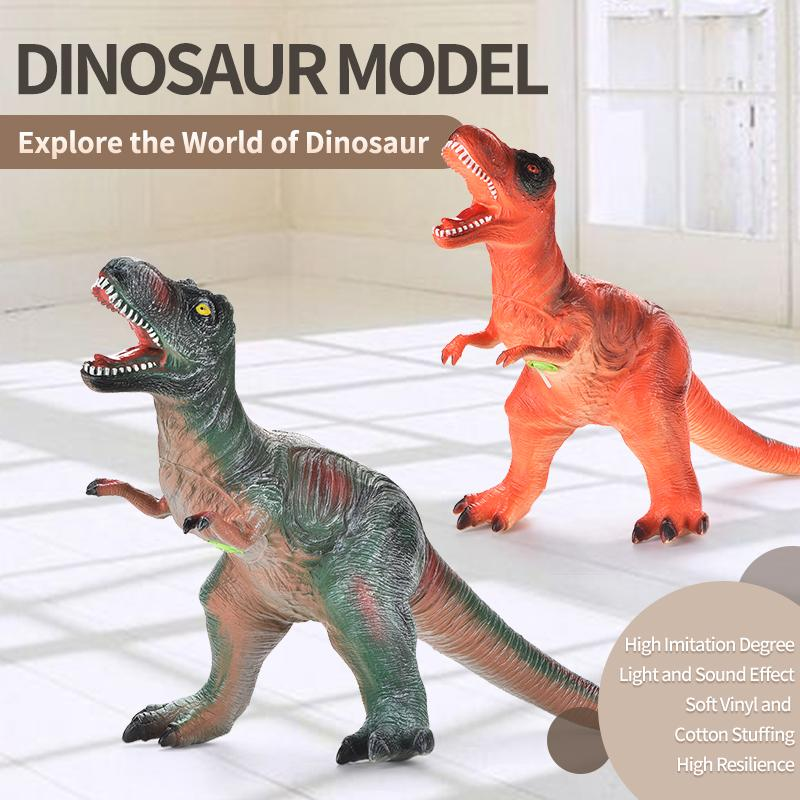 TW1911014 90CM Super Tyrannosaurus Green / Orange Soft vinly and cotton stuffing stereoscopic shape Dinosaur Model toy dinosaur