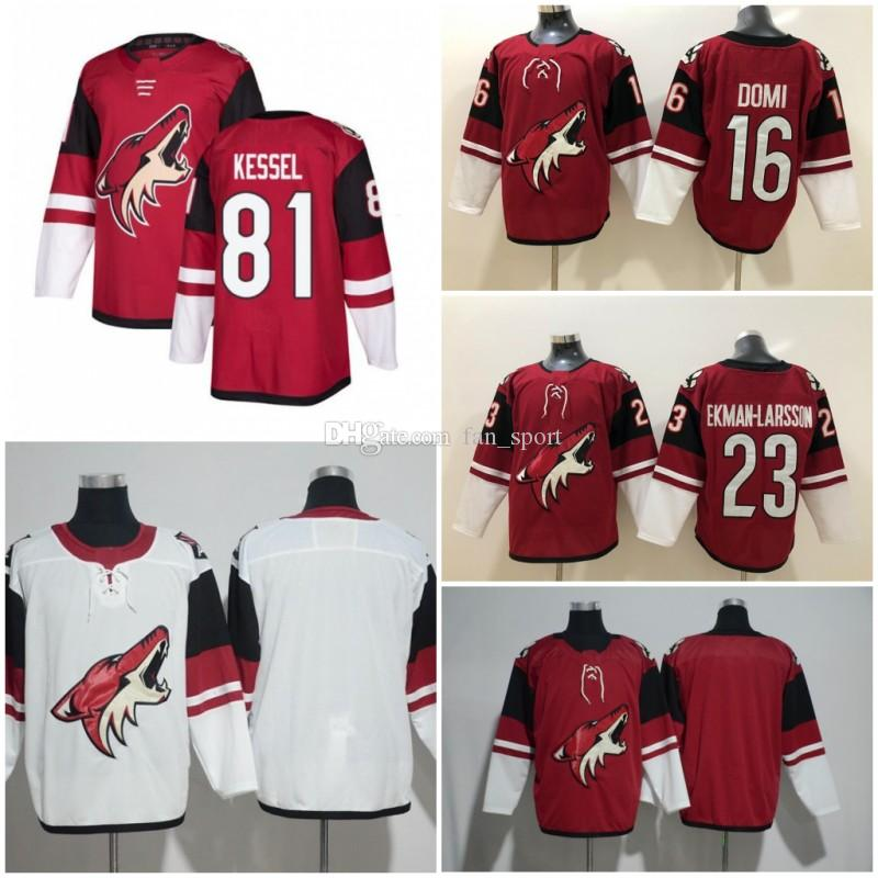 81 Phil Kessel Phoenix Arizona Coyotes Ice Stitched Mens 16 Max Domi Jersey 23 Oliver Ekman-Larsson Red White Blank Hockey Maglie S-3XL