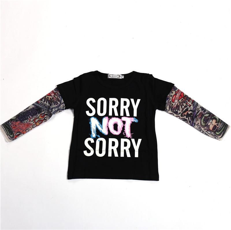 IN Hot Selling KID ES T-Shirt Long Sleeve Joint Hiphop Tatoo wen shen xiu T-Shirt Sorry Nicht traurig gedruckt