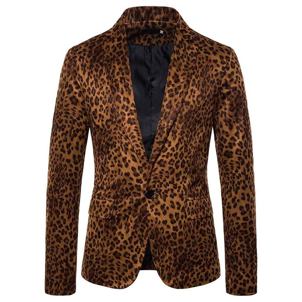 Herrenmode Leopard druckt Blazer Anzüge Herbst Mode Jacken Mäntel Neue dünnen Langarm-Blazer Anzüge Business-Mann Outwear