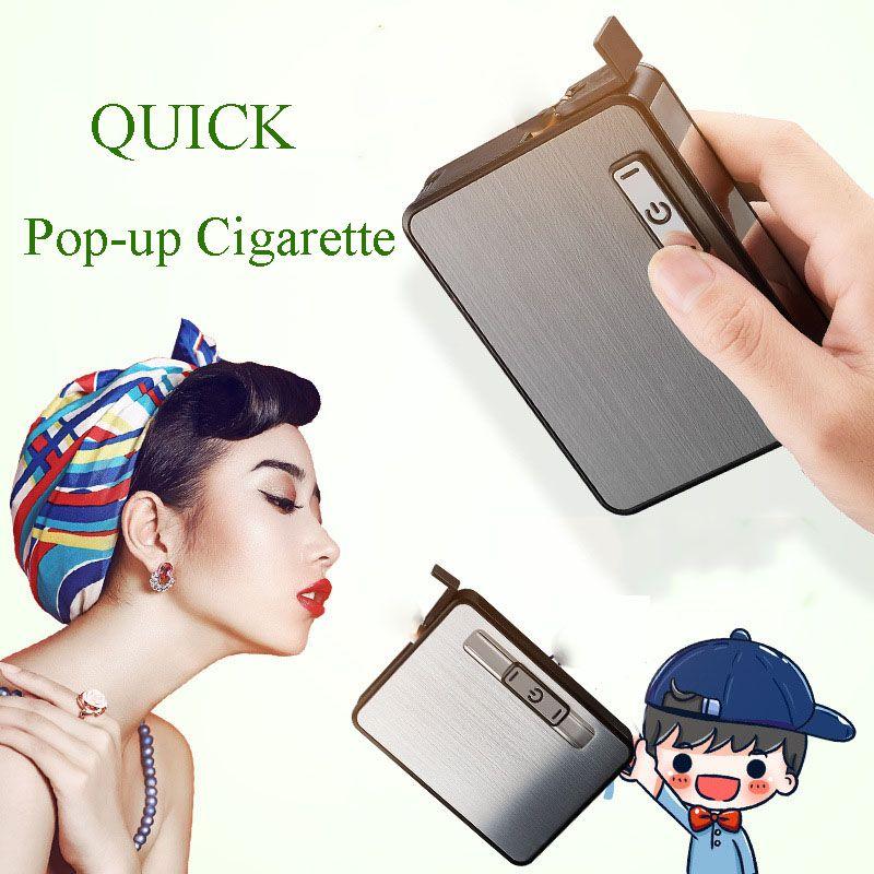 Nizza Creative-Zigaretten-Etui mit USB-Ladefeuerzeug-windundurchlässiger Automatische Pop-up-Zigarette Elektronisches Feuerzeug Tragbare Raucherzubehör