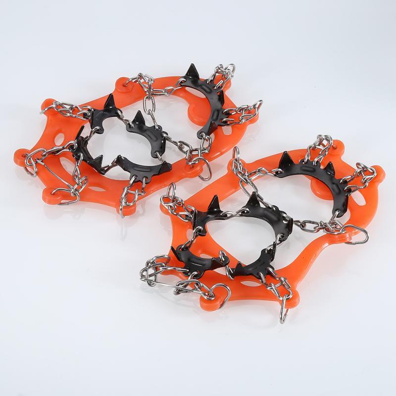 1Pair 내구성 (11 개) 이빨 발톱 스테이플 미끄럼 방지 신발 커버 스테인레스 스틸 체인 휴대용 어린이 스키 정장 등반 액세서리