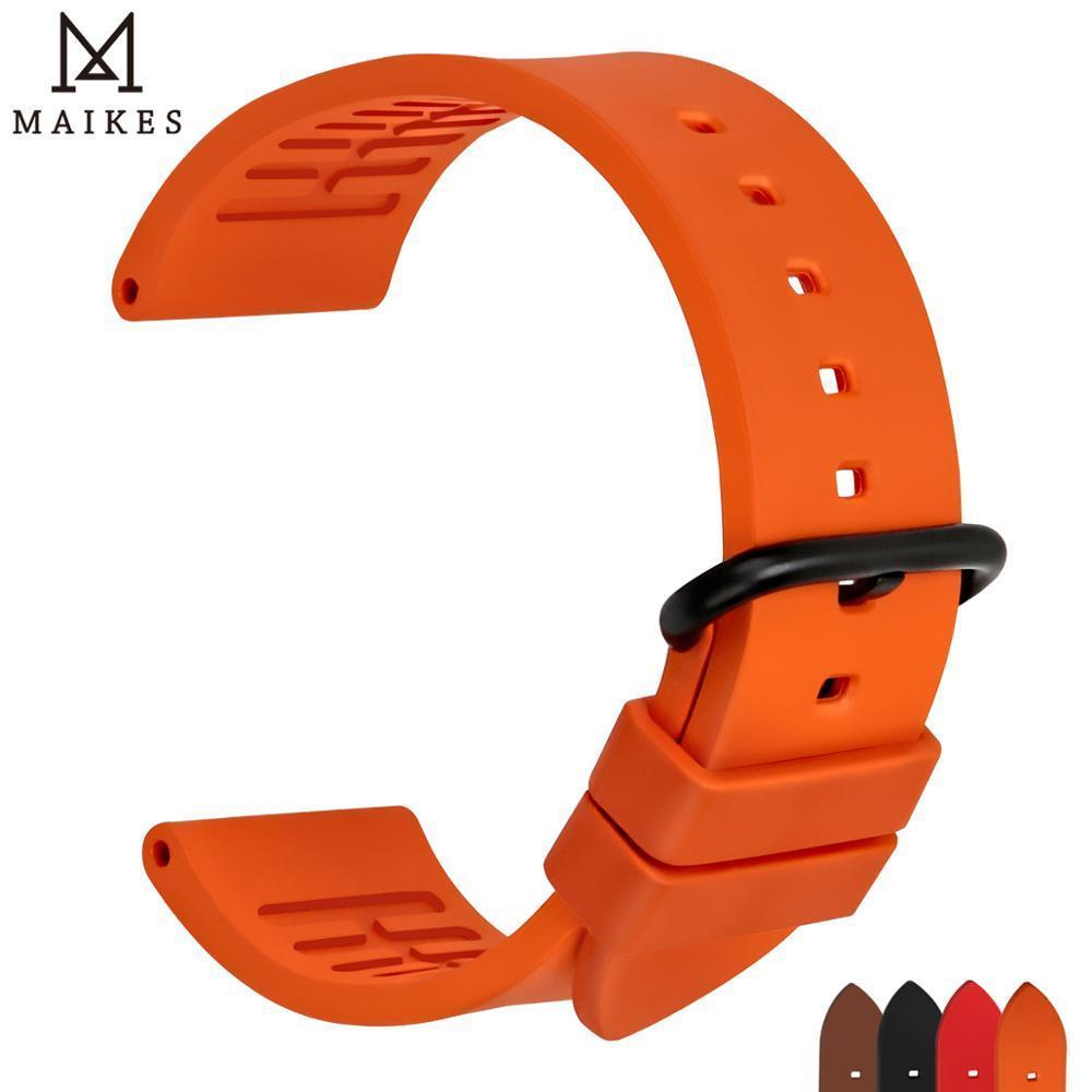Maikes Quality Fluororubber Watchbands 20mm 22mm 24mm Orange Rubber Watch Strap Band Watch Accessories For Sports Diving Watches Y19052301