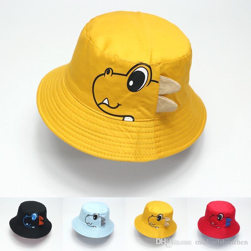 Dinozor Bebek Şapka Pamuk Kepçe Hat Bebek İlkbahar Sonbahar Cap Çocuk Şapka Bebek Bebek Aksesuarları moda çocukları Plaj Şapka C52 çift taraflı