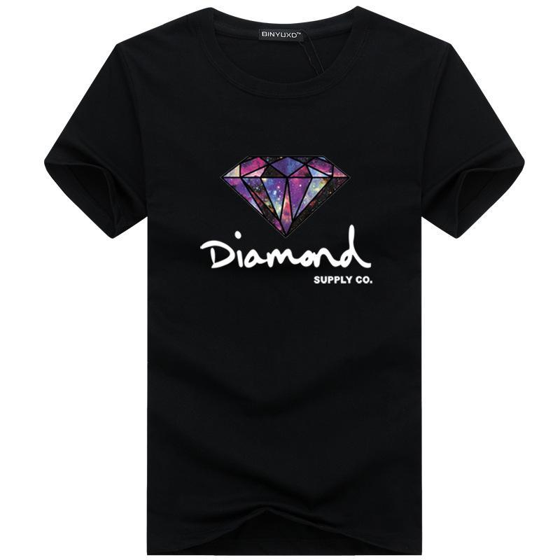 Nuova maglietta degli uomini del cotone di estate Maglietta stampata del rifornimento del diamante del bicchierino del manicotto di modo Magliette superiori degli uomini di sport del pattino di marca