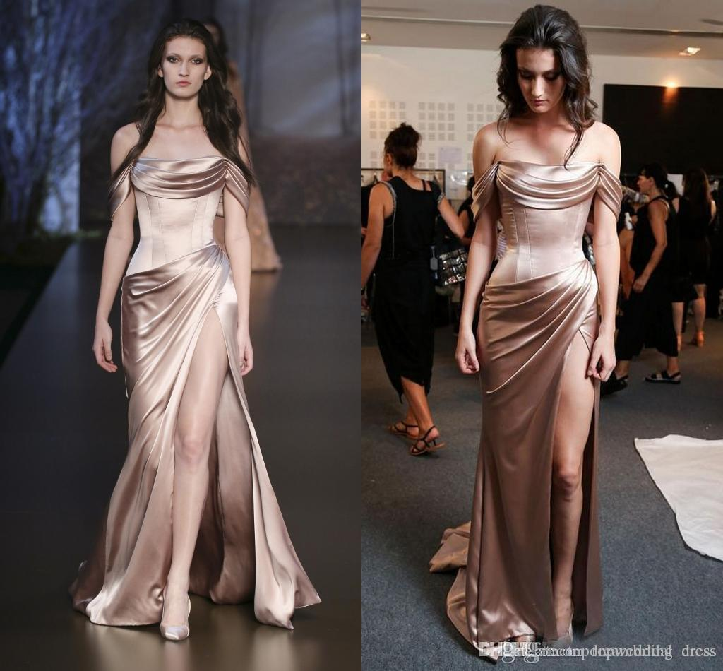 Ralph& Russo 2018 Champagne Satin Celebrity Evening Dresses Off Shoulder Front Split Pleats Sexy Open Back Prom Special Occasion Party Gowns