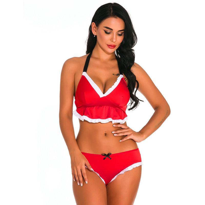 Trajes atractivos de la mujer ropa interior roja Conjunto pantalones calientes ropa interior atractiva de la manera fijadas erótica Bras + G-string de las señoras de la ropa interior de mujer