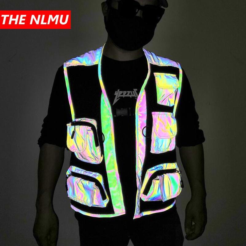 Reflective Cargo Vest Men 2020 Safety Vest Outdoor Men Coat Sleeveless Jacket Casual Coat Cool WG978