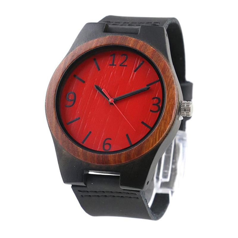 dropshipping fathers day engraved original grain zebra red bamboo face ebony sandal quartz wooden watch for men