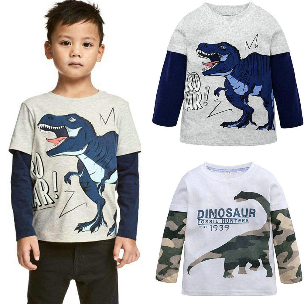 코튼 공룡 아기 소년 긴 소매 T 셔츠 봄 아동 셔츠 여자는 아동 의류 아동 의류 탑