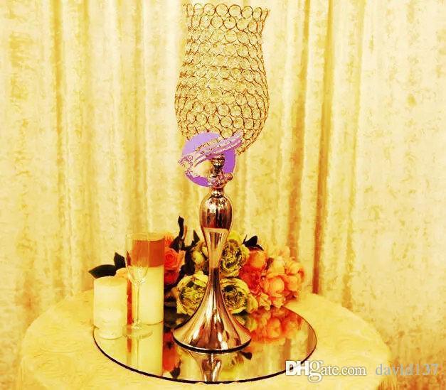 Popolare artificiale di colore dell'oro del fiore del metallo Vaso Decorazione di cerimonia nuziale di cerimonia nuziale centrotavola PartyHomeVenue