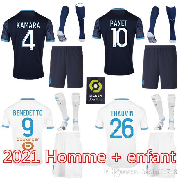 bambini Man kit 20 21 Olympique Marsiglia OM pullover di calcio 2020 Marsiglia maglia da calcio maillot de foot THAUVIN Camisetas PAYET BENEDETTO