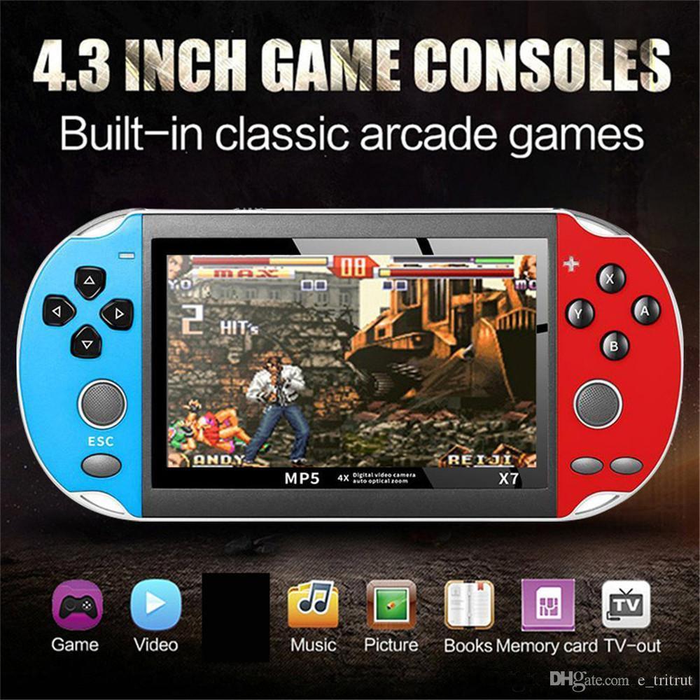 X7 4.3 pouce Console de jeu vidéo MP5 8GB ROM Double Rocker Double Joystick Arcade Jeux de poche Jeux de poche Portable Rétro console de rétro 4.3inch BC