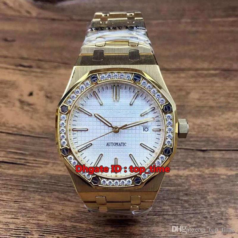 10 estilo reloj de alta calidad 41 mm A2813 reloj para hombre automático 15400ST 18K oro diamante bisel blanco esfera de acero inoxidable correa de los hombres relojes