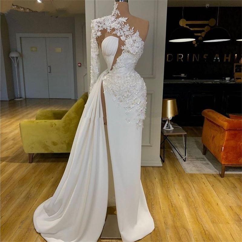 White Appliqued One Shoulder Prom Dresses 2020 Ruched Side Split Sexy Celebrity Dress robes de mariée Red Carpet Gowns