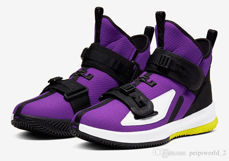 Hot LeBron Soldado 13 sapatos Amarelo roxo de basquete para venda com caixa de James LeBron Soldado 13 Tensão Preto Amarelo Roxo dinâmico Tamanho 7-12
