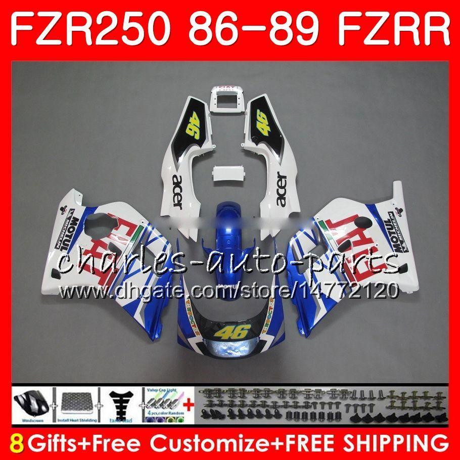 Корпус для YAMAHA Fzr250r синий белый горячий FZRR FZR 250R FZR250 86 87 89 123HM.17 FZR250RR FZR 250 FZR-250 1986 1987 1988 1989 набор Зализа