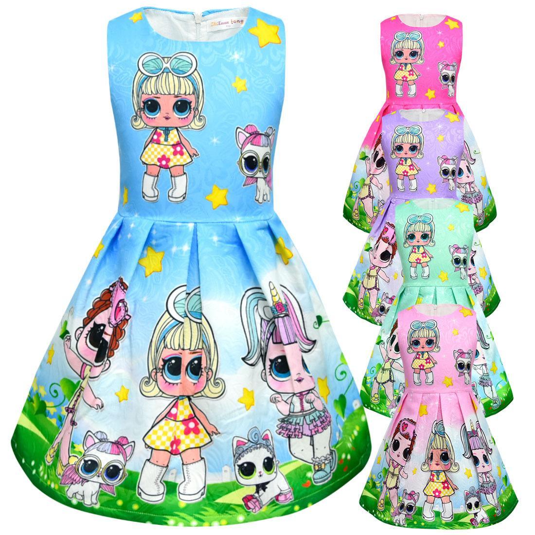 2019 new styles lol surprise creative kids dress dolls pattern girl dresses high-end jacquard skirt wholesale