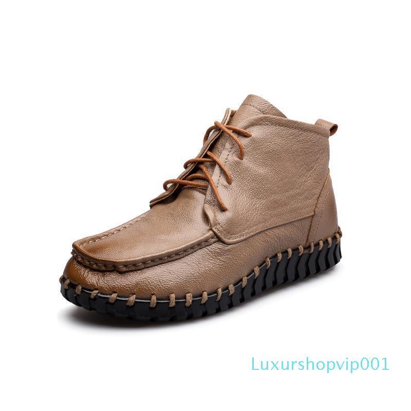 botas de cuero genuino mujeres de 35 ~ 41 vaca marca de moda 2018 botas de las mujeres de primavera # 7477