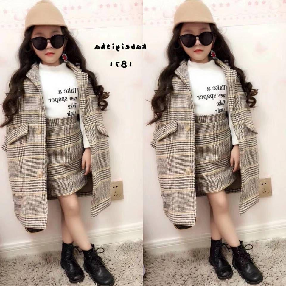 Fille d'automne Tenues 2019 Automne Hiver Vêtements pour enfants Ensemble manteau + Jupe Bébés filles Survêtement enfants Vêtements Ensembles Woollen