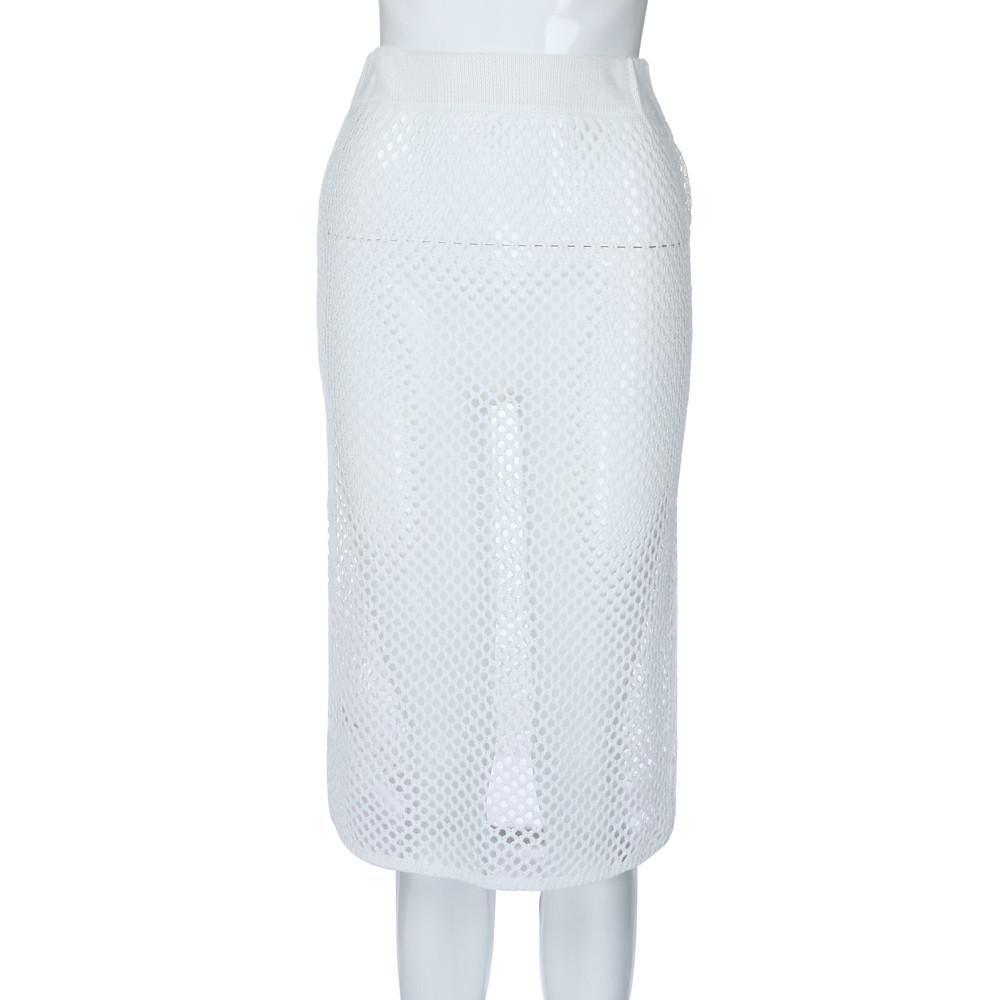 Jaycosin falda de moda femenina sexy tejido a mano de punto calado bikini falda playa verano mujeres Bikin Beach plisado