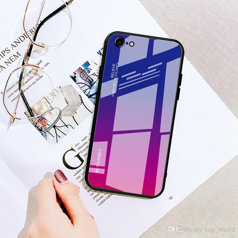 Gradient Tempered Glass Case For iPhone XS Max XR X Colorful Mobile Phone Cover Protective Shell For iPhone 6s 7 8 Plus X